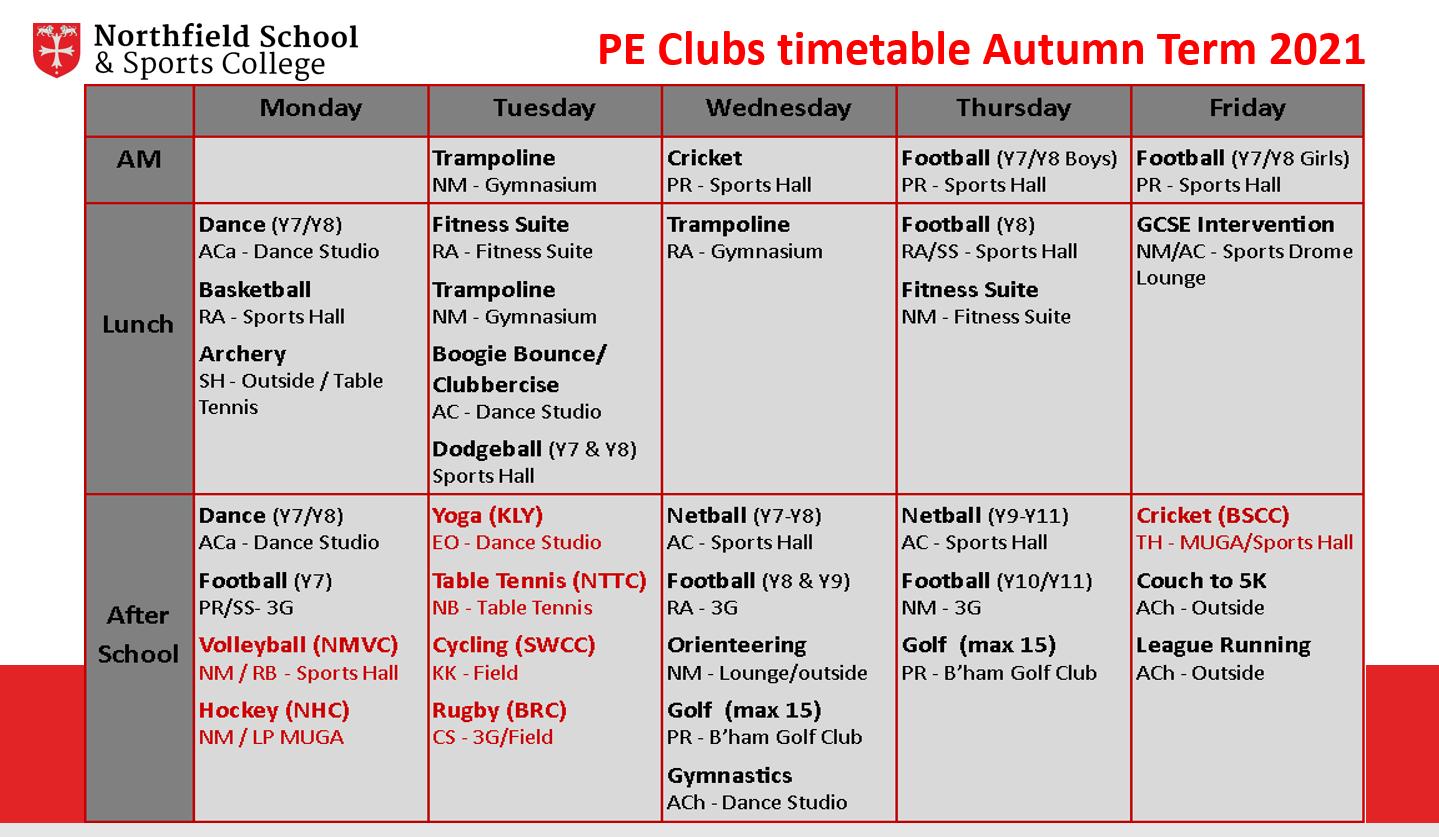 Clubs Timetable Autumn Term
